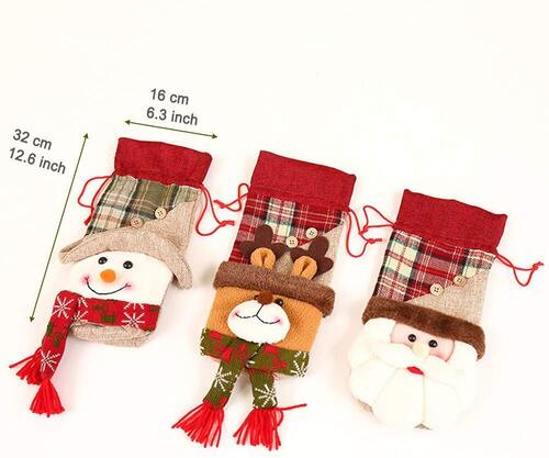 Fortune Holiday Christmas Wine Bottle Covers, Bags and Bottle Stoppers Set of 7