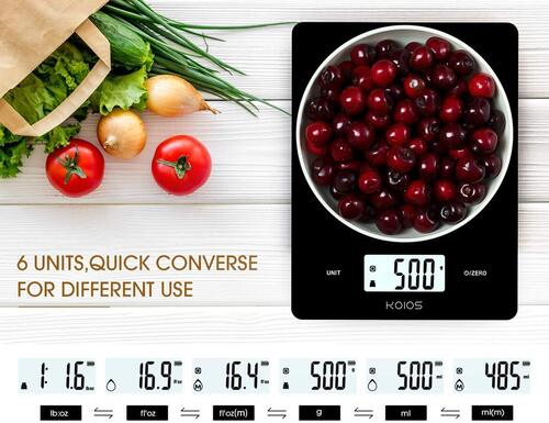 KOIOS USB Powered Digital Kitchen Food Scale with anti-skid feet and rounded corners