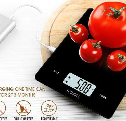 KOIOS Waterproof Digital Kitchen Scale with USB Charged, Automatic Shut-off and LCD Screen