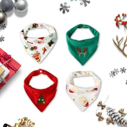 Little Dimsum Adjustable Set of 4 Christmas Baby Drool Bibs with 2 tightening buttons