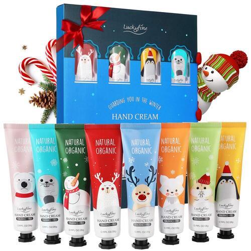 Luckyfine Natural and Organic 8 pcs Christmas theme Hand Cream Gift Set