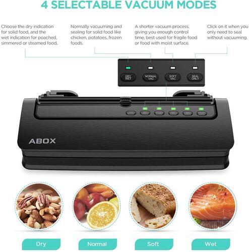 ABOX V63 Food Vacuum Sealer with digital touch keys and LED indicator light