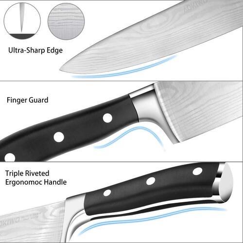 AOKIWO 21pcs German Stainless Steel Kitchen Knife Block Set with Triple-rivet Oak Wood Handles