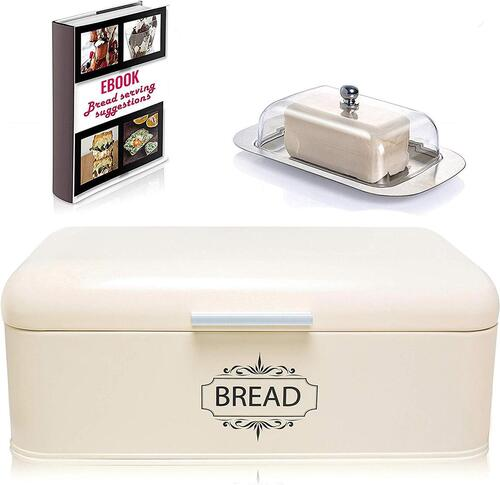 All-Green Products Vintage Bread Box includes Butter Dish, Mobile Stand and eBook