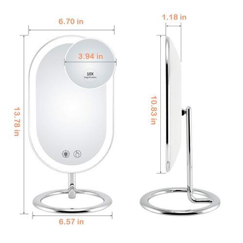Fugetek 3 Adjustable Lighting Modes 10x Magnification Ultra Premium Glass Vanity Makeup Mirror