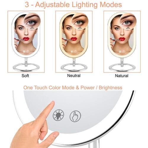 Fugetek 3 Adjustable Lighting Modes 10x Magnification Vanity Makeup Mirror