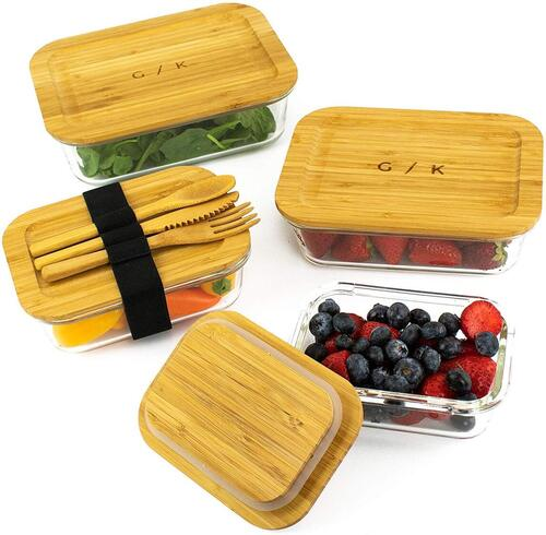 Gramercy Kitchen Company 4 pcs Glass Food Storage Containers includes Reusable Bamboo Cutlery with Wrap