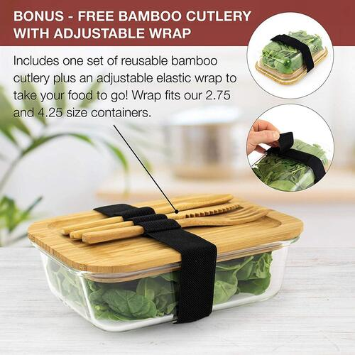 Gramercy Kitchen Company 4 pcs Glass Food Storage Containers of Bamboo, Glass and Silicone includes Reusable Bamboo Cutlery with Wrap