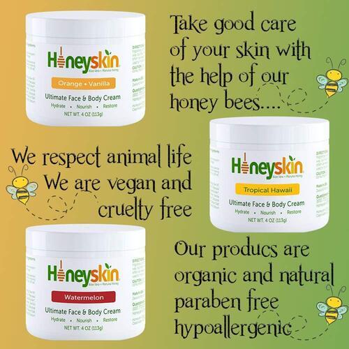 Honeyskin 4oz Aloe Vera and Manyka Honey 3pcs Face and Body Cream
