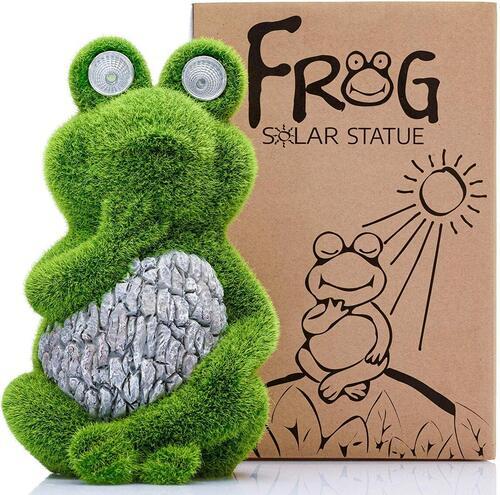 garden figurines solar frog garden décor by Shefio