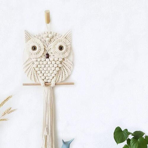 Achart Owl Macrame Wall Hanging Boho Ornament