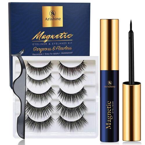 Arishine Waterproof and Smudge Proof Magnetic Eyelashes include Eyeliner