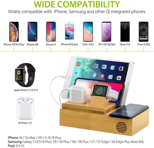 CHGeek Bamboo Wireless Charging Station with 4 USB Ports for Multiple Devices