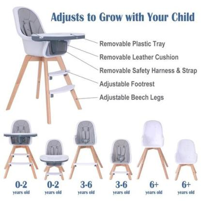 HM-TECH 3 in 1 Convertible High Chair with 5-point Harness, 3-stage Adjustable and Removable Tray
