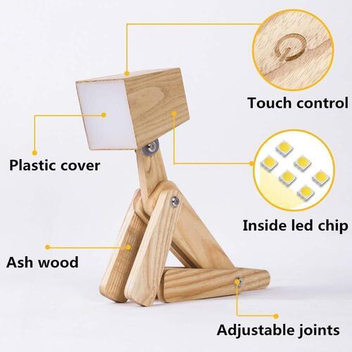 HROOME Unique Dog Shape Design Adjustable Wooden Dimmable Desk Lamp for Dog Lovers