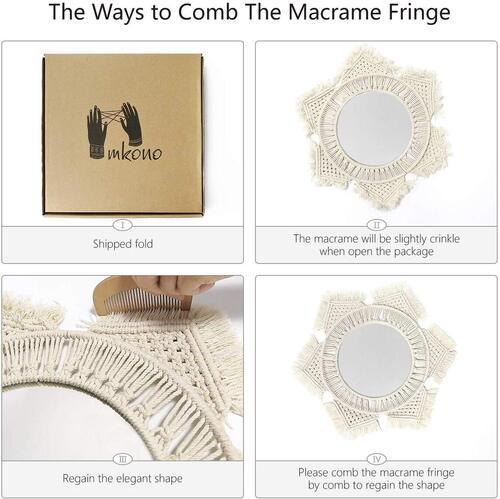 Mkono Macrame Fringe Round Hanging Mirror for Boho Style Decoration