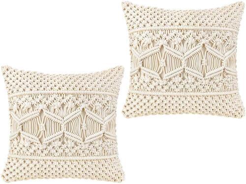Mkono 2 pcs Boho Look Ivory Color Macrame Throw Pillow Cover