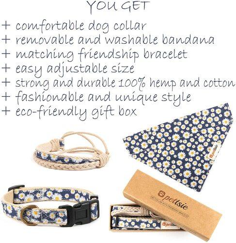 Pettsie 100% Hemp and Cotton Dog Collar with Friendship Bracelet and Bandana a Very Cute Dog Gift