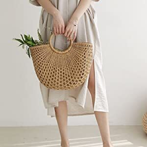 DOKOT Hand-Woven Straw Multifunction Women Handbag with Ring Handles