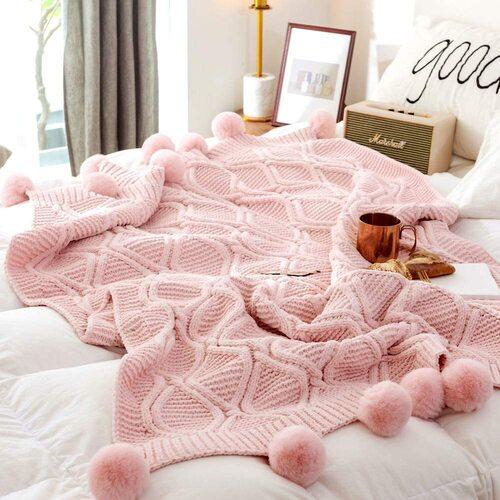 LakeMono Chenille Throw Blanket with handmade pompoms