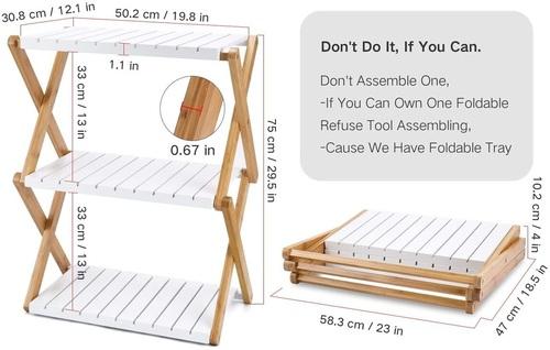 Nnewvante Wooden 3 Tier Foldable Storage Shelf