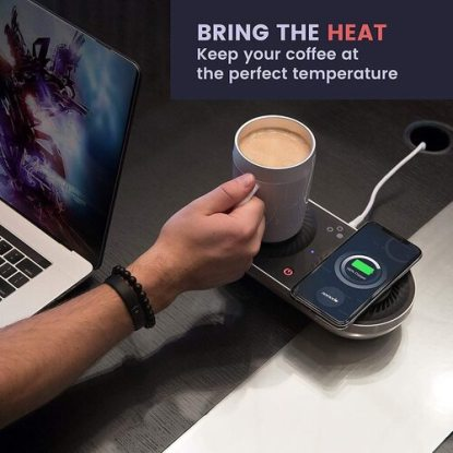 Nomodo Trio Beverage Cooling and Heating Station and Wireless Qi Charging Dock