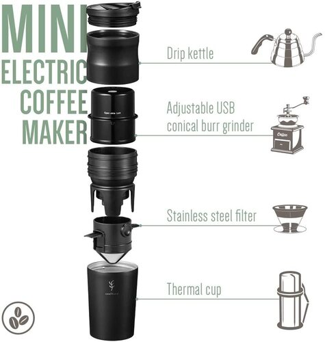 Soulhand USB Charging All in One Travel Coffee Maker with Ceramic Grinder