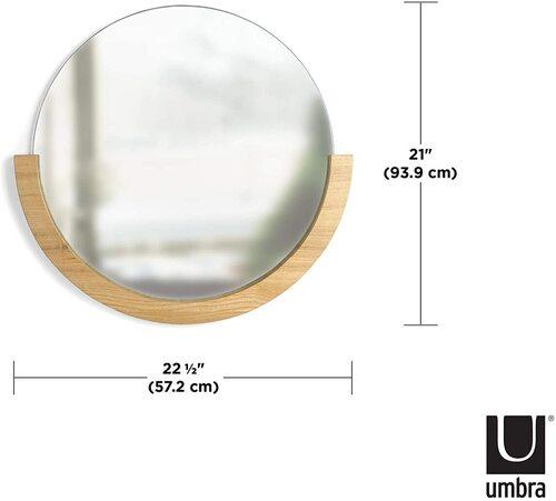 Umbra Mira Modern Home Circular Mirror with Wooden Frame
