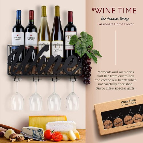 ANNA STAY Metal Wall Mounted Wine Rack with Glass Holder and Corks Tray