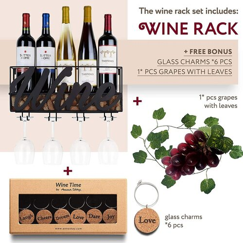 Anna Stay Metal Wall Mounted Wine Rack Bottle Holder with Glass Holder