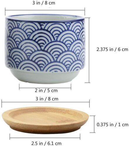T4U Japanese Style succulent plant pot set with drain hole