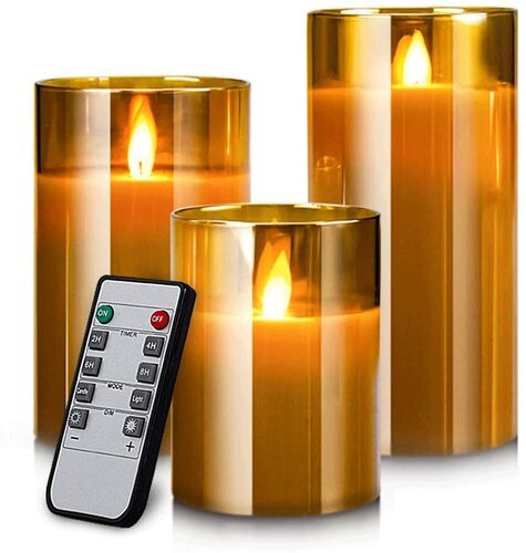 Flameless LED Pillar Candles by Yinuo Mirror