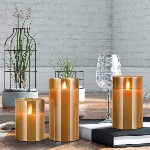 Yinuo Mirror LED Flame Moving Candle 3 piece Set for Home decoration