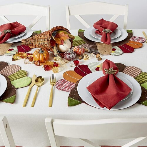 DII 4 pcs Beautiful Embroidered Thanksgiving Turkey Polyester Placemat