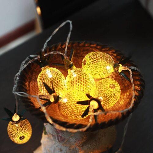 GIGALUMI Battery Powered Pineapple String LED Lights
