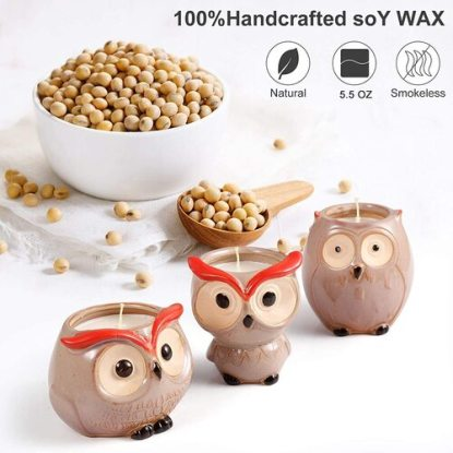 Hsuner 3 pcs 100% Pure Soy Wax Scented Owl Candles Gift Set