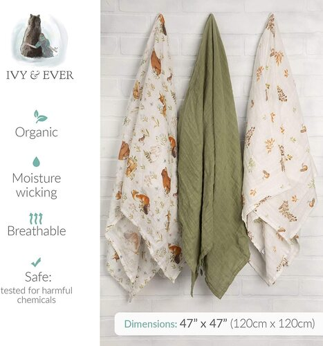Ivy & Ever 3 pcs 100% Organic Muslin Baby Boys and Girls Swaddle Blankets in  Beautiful Premium Gift Box