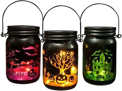 MJ PREMIER 3 pcs Spooky Patterns Glass Halloween Mason Jar