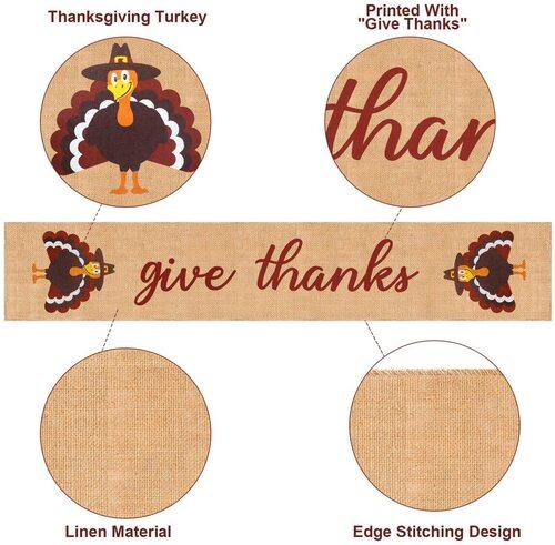 Mosoan Burlap Give Thanks Thanksgiving Table Runner