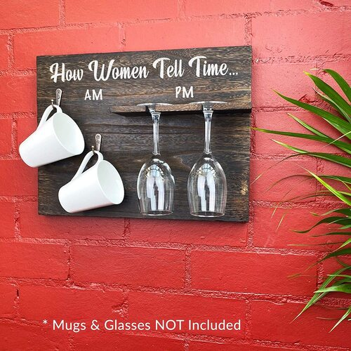 GIFTAGIRL Wooden 'Tell Time' Rack for Two Wine Glasses and Two Mugs Gift for Women