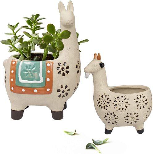 LA JOLIE MUSE 2 pcs Ceramic and Sand Alpaca-Llama and Goat Succulents Pots