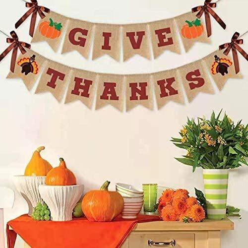 Raleyooze ''Give Thanks'' Turkey and Pumpkin Printed Thanksgiving Wall Banner
