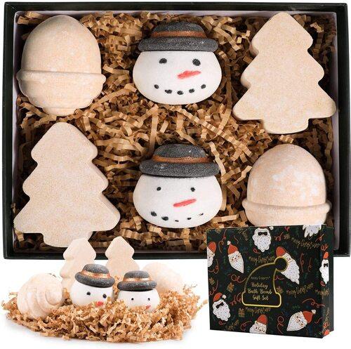 Body & Earth 6pcs Christmas Themed Bath Bombs Xmas Gift Set