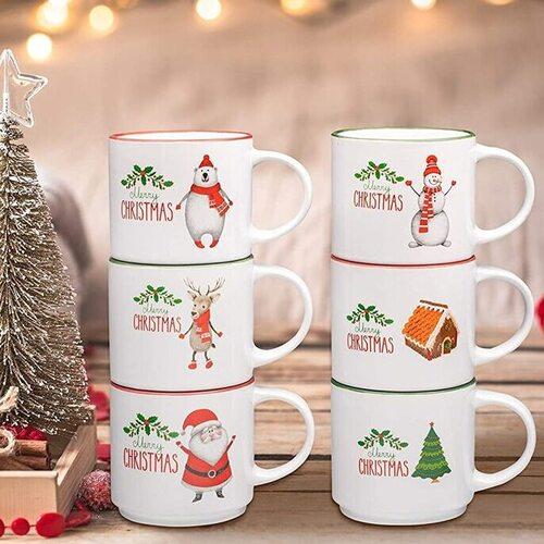 Bruntmor Set of 6 Ceramic Christmas Theme Coffee Mugs