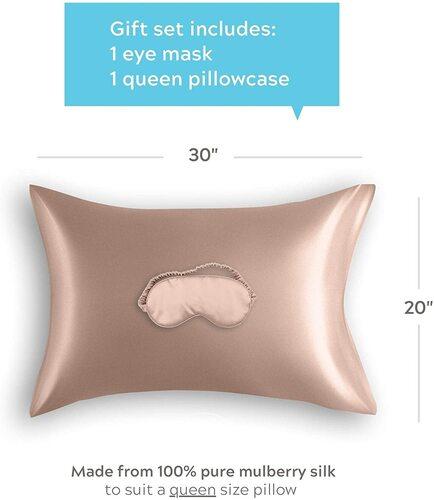 Colorado Home Co Nude Champagne Silk Pillowcase and Silk Sleep Mask Woman's Gift Set