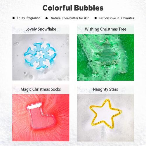 DIGO Handmade Christmas Themed Bath Bombs Iin Gift Box for Xmas