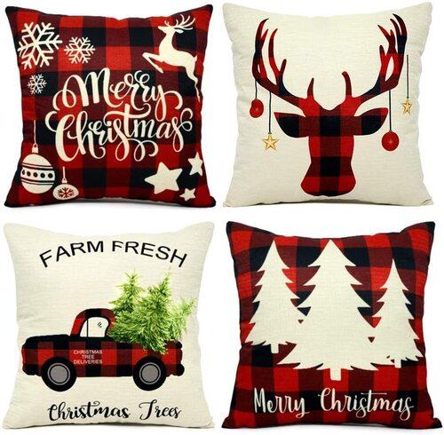 EZIGO Throw Pillow Covers Set of 4 for Christmas Decorations Xmas