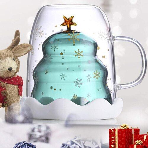 Glass Coffee Mug with Christmas tree cup design Xmas Gift Idea