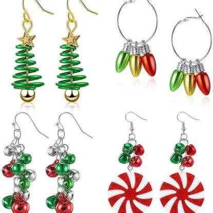 Hicarer 4 pairs Christmas Design Dangle Earrings Gift for Women's