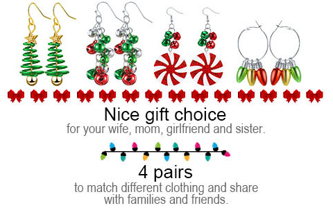 Hicarer 4 pairs Holiday specific elements Design Dangle Earrings Christmas Gift Choice for Mom, Wife, Girlfriend and Sister
